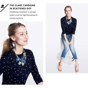 NWT J. Crew The Clare Cardigan Polka Dot Large